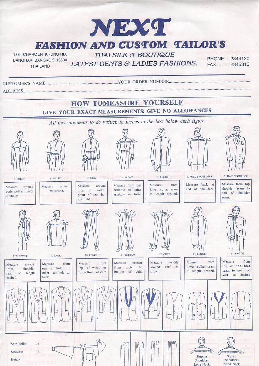 body measurement form